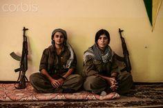 Kurdish YPJ Star (PKK) women fighters at their base in Kirkuk province, Iraqi Kurdistan.