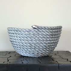 DIY Metallic Rope Bowl made from rope, hot glue and spray paint! A easy and affordable centerpiece or entryway bowl!