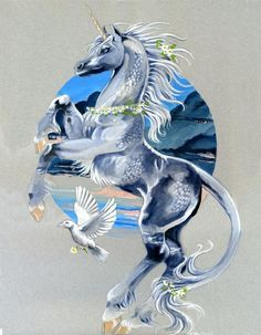 New horsey pic. This is actually to go with an earlier painting of a black pegasus called Storm Warden. I love painting sets Here& a link to it I& not completley happy with this one tho. Unicorn Fantasy, Unicorn Art, Fantasy Art, Pegasus, Beautiful Unicorn, Magical Unicorn, Magical Creatures, Fantasy Creatures, Unicorn Pictures