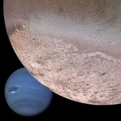 "The Solar System's top 5 most amazing moons! | Triton: ""This is Neptune's giant moon. It's the coldest object this side of the Kuiper belt – even colder than Pluto. It also has a retrograde (backwards) orbit, suggesting it was probably once an independent Kuiper belt object which was captured by Neptune. It also has liquid nitrogen geysers, and a thin atmosphere. It even has weather!"""