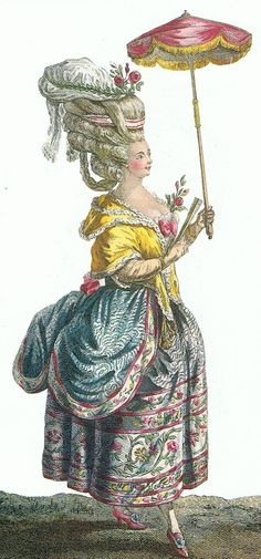 18th century French fashion print Trouvais - accessorized with a parasol