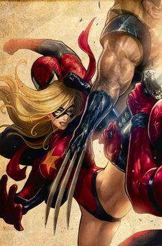 Ms. Marvel Battles Wolverine | Comic Book Artwork
