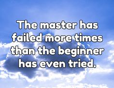 The master has failed more times than the beginner has even tried. #diligence