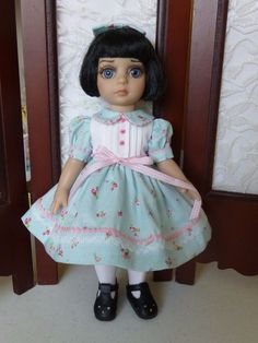 """Pink Roses On Blue Dress for 10"""" Tonner Patsy Doll Made by Apple"""