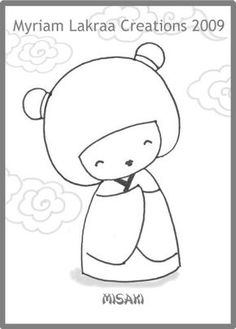 KOKESHI dessin au feutre (pencil drawing) -  2009 - Myriam Lakraa Créations (Strasbourg - France) Coloring Pages For Girls, Coloring For Kids, Coloring Books, Doll Patterns, Quilt Patterns, Asian Quilts, Hipster Drawings, Asian Cards, Red Words