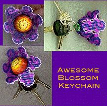 3-D Totally Awesome Blossom Keychain Pattern by Lenni Cramer at Bead-Patterns.com
