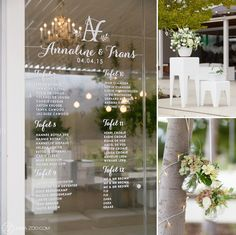 Lourensford Wedding - ZaraZoo Photography Love the simple seating plan on the glass door. Cape Town Wedding Venues, Wedding Cape, Wedding 2015, Gold Wedding, Wedding Flowers, Seating Plan Wedding, Wedding Decorations, Table Decorations, Table Plans