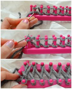 Using a knitting loom to make an infinity scarf.