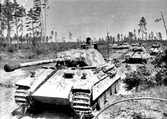 6 German Panther tanks in column