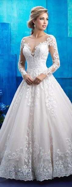 Long sleeve lace ballgown wedding dress by Allure Bridals 2017 Collection | @allurebridals