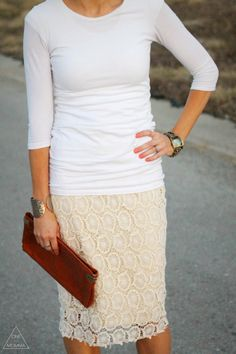 Pair white and cream with nude accessories for a fresh Spring look <--love the skirt! What I Wore, What To Wear, Cream Lace Skirt, Diy Clothes Accessories, Skirt Outfits, Spring Summer Fashion, Style Inspiration, Nude, My Style