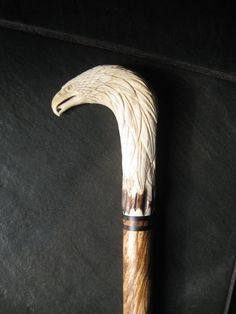 Carved Eagle Walking Cane Deer Antler Collector Cane  by gammamike, $196.00
