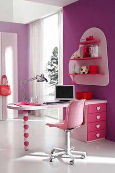 Modern Desk for Pink Teen Bedroom Modern Pink Teen Bedroom Design Ideas by Stemik Living