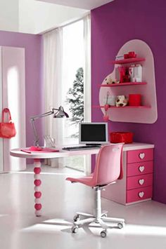 Modern Desk for Pink Teen Bedroom Modern Pink Teen Bedroom Design Ideas by Stemik Living