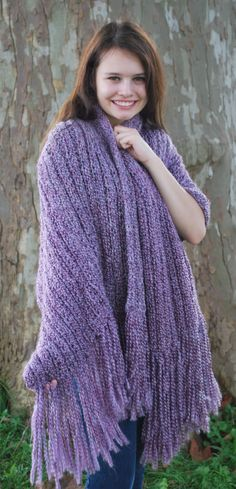 Loom Double knit ribbed shawl
