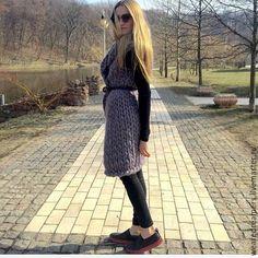 Купить Вязаный длинный жилет из шерсти меринос - серый, однотонный, кардиган вязаный, кардиган женский Merino Wool, Sweaters, Dresses, Fashion, Vestidos, Moda, Fashion Styles, Sweater, Dress