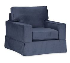 PB Comfort Square Arm Slipcovered Armchair, Box Edge Down Blend Wrapped Cushions, Twill Cadet Navy