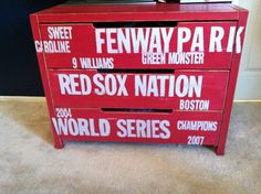 Baseball dresser perfect for a little boys room Baseball Dresser, Baseball Nursery, Baseball Boys, Baseball Stuff, Diy Dresser Makeover, Dresser Ideas, Red Sox Nation, Baby Boy Rooms, Kids Rooms