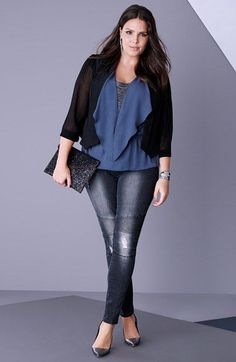 Plus Size Fashion - Plus Size Blazer, Top & Jeans