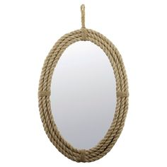 Oval Rope Decorative Wall Mirror with Loop Hanger Rope - Ckk Home Decor