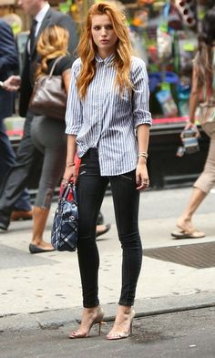 Bella Thorne Glams Up A Classic Collared Shirt