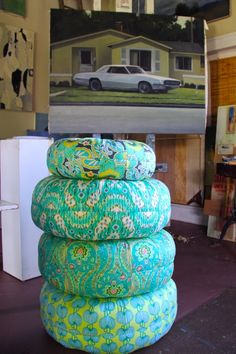 Amy Butler's Lark Fabrics and Honey Bun Poufs