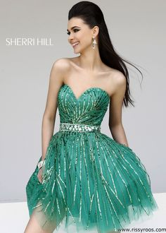 Sherri Hill 8522 Strapless Emerald Green Short Cocktail Dress