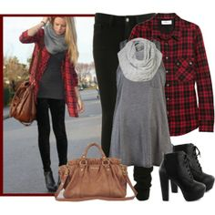 """Casual, grungy, and comfortable. The perfect     casual coffee-date outfit with a little edge. Black """"Lita"""" booties, grey infinity scarf, plaid shirt, black skinny jeans."""