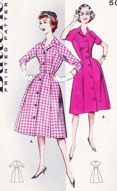 1950s Misses One Piece Coat Dress