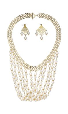Jewelry Design - Bib-Style Necklace and Earring Set with White Lotus™ Cultured Freshwater Pearls and Lazer Lace™ Focals - Fire Mountain Gems and Beads