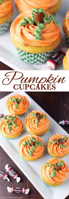 Pumpkin Cupcakes that look like cute little pumpkins, complete with a candy stem. Perfect for Halloween or Thanksgiving. Find the recipe on MomLovesBaking.com