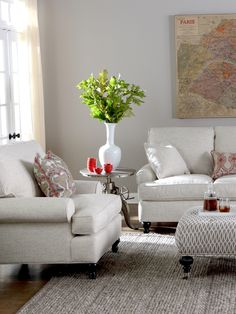 Red Accents Round Out This Elegant And Classicly Styled Room AccentsLiving SofaSofasRoom Ideas