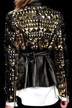 Metal studs leather jacket