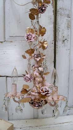Chandelier shabby chic pink gold cherubs roses crystals hand painted one of a kind lighting fixture Anita Spero