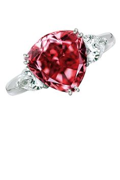 "Moussaieff Red Diamond ($7 million) Once known as the Red Shield Diamond, the Moussaieff Red is the largest Fancy Red diamond in the world at 5.11 carats. Discovered in Brazil in the 1990s, the diamond has a triangular brilliant cut (also known as a trilliant cut) and was most recently displayed at the 2003 ""Splendor of Diamonds"" exhibit at the Smithsonian."