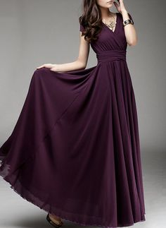 Maxi dress Chiffon dress Purple dress V neck Large hem Wedding Beach dress Red White Purple Black Blue Green Yellow Pink