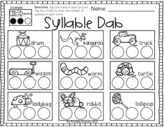 "Students use a bingo dabber to ""dab"" the number of syllables in the word."