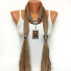 brown jewelry scarf  high fashion unique jewelry by BienBijou, $25.00