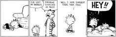 Calvin and Hobbes Comic Strip, January 02, 2014 on GoComics.com Hobbes seems so innocent this time.  Calvin keep looking.