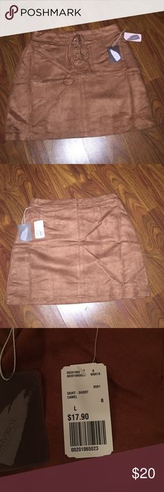 Forever 21 faux suede skirt So cute!!! Brand new with tags. Zipper on back of skirt. Price is pretty firm since its brand new, but feel free to make me an offer :) Forever 21 Skirts Mini