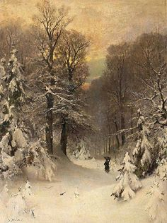 Brushwood collector in a winter forest - Sophus Jacobsen (1833-1912)
