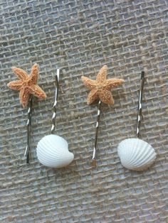 Starfish Hair Accessories, Seashell Hair Clips - 4 PC Beach Decor, Beach Wedding, Mermaid Hair