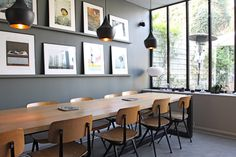 love the pendants, table, chairs, wall color and ledges for artwork! House Design, Modern Dining Room, Home And Living, Interior Design, Interior Deco, Beautiful Interiors, Home, Interior, Home Decor