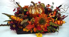 Fall BlinG dining Centerpiece Autumn Floral Arrangement Thanksgiving Tablescape Bejeweled Pumpkin Tuscan StuNNing by Cabin Cove Creations on Etsy, $220.00