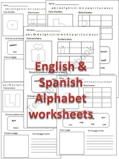 English & Spanish Fun Alphabet worksheets product from mzmary on TeachersNotebook.com