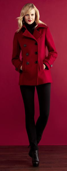 Gimme this coat like now please!?! Been wanting a red pea coat since last year and this ones adorable!