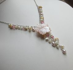 Elegant pink flower statement necklace - a lovely idea for handmade wedding jewelry! See more handcrafted jewelry at www.BethanyRoseDesigns.etsy.com