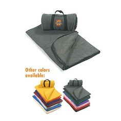 """Promotional 50"""" x 60"""" Embroidered Carry-A-Long Fleece Blanket   Customized Blankets   Advertising Blankets"""