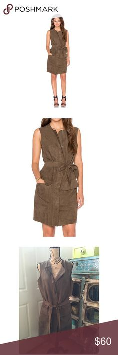 "Olive Sleeveless, Belted Shift Dress M Details: - Crew neck - Sleeveless - 2 front flap pockets - Removable tie belt - Front zip closure with snap button closure - Approx. 36"" length - Imported Fiber Content: 100% polyester Care: Dry clean only Additional Info: Fit: this style fits true to size. Shades of Gray by Micah Cohen Dresses"