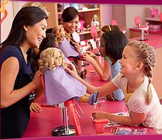 American Girl Salon - They would like to take their girls for hair styling and ear piercing American Girl Place, American Girl Store, American Girls, Baby Daddy Season 6, Baby Daddy Tv Show, Girl Salon, American Girl Hairstyles, Lego Store, Doll Hair